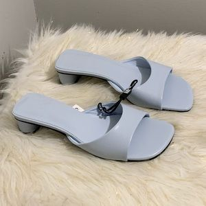 Zara blue leather shoes slippers size 6